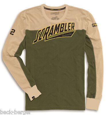 DUCATI SCRAMBLER Track Star long sleeve T-Shirt Long Shirt Sweater olive new