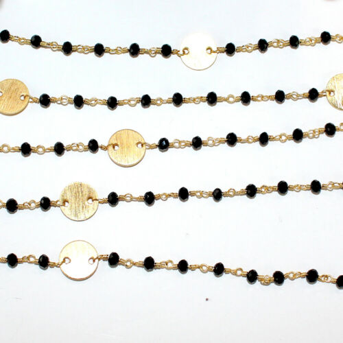 3 Feet BLACK ONYX 3MM Bead DISC COIN Rosary Chain 24K Gold Plated DIY Jewelry