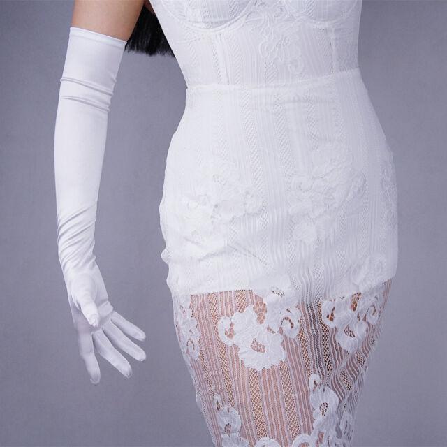 Stretchy Satin Silk Gloves Evening Opera Long Short Wedding Bridal Off White