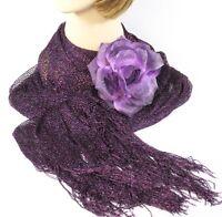 Purple Metallic Scarf/shawl With Detachable 3-way Flower Red Hat Society Ladies