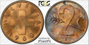 1968-B-SWITZERLAND-2-RAPPEN-BU-PCGS-MS64RB-COLOR-TONED-COIN-ONLY-7-GRADED-HIGHER