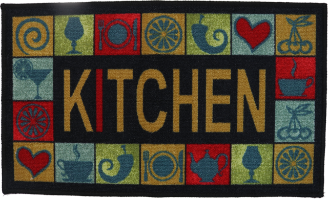 Kitchen Design Printed Kitchen Area Throw Rug 18 x 30 in Stain Resistant