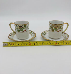 Hand-Painted-Angled-Sm-Tea-cappuccino-Cups-amp-Saucer-W-Gold-Trim-Antique-Nippon