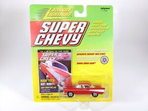 JOHNNY-LIGHTNING-SUPER-CHEVY-1957-CHEVY-BEL-AIR-RED-NEW-NOC-1-64-DIECAST