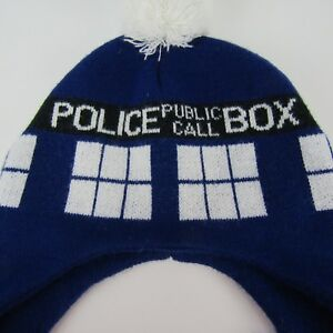 94840126e0e Doctor Who Tardis Laplander Beanie Knit Cap Hat Blue Police Call Box ...
