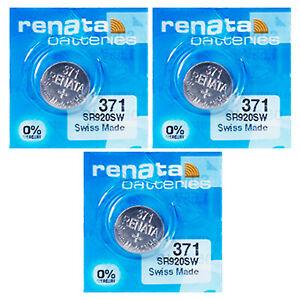3-x-Renata-371-SR920SW-Pila-Batteria-per-Orologio-Citizen-Aqualand-Serie-1-Prima