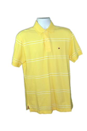 Tommy Hilfiger Mens Yellow//White Cotton Short Sleeves Striped Regular Polo Shirt