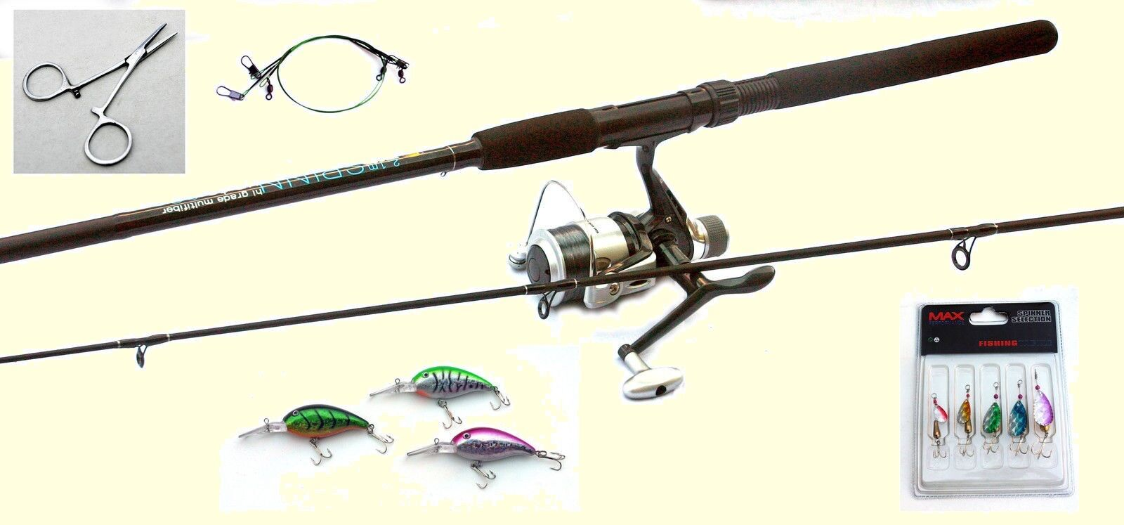 Pike   Perch  Fishing Spinning Kit-Rod,Reel,Line,Spinners,Plugs,Traces,Forcepst