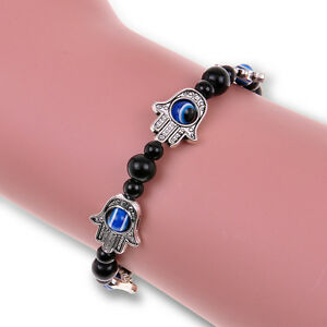 Tibetan-Silver-Beaded-Charm-Chain-Bracelet-Hamsa-Fatima-Hand-Evil-Eye-vintage