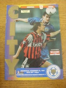 23-11-1994-Leicester-City-v-Arsenal-creased-Footy-Progs-Bobfrankandelvis-ex