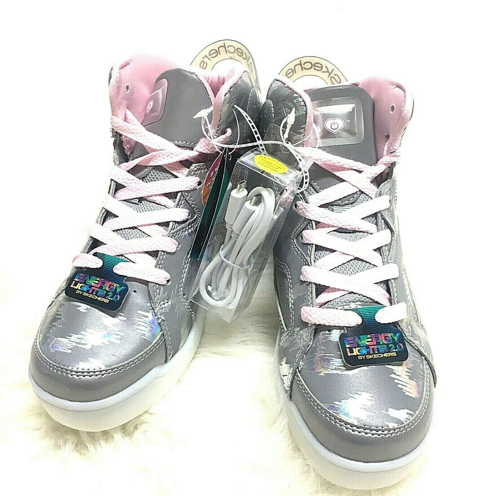 Sketchers Pink Grey Holographic High Top Women Sneakers Energy Lights 2.0 Sz 6