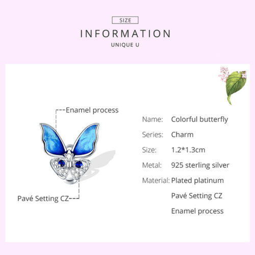 Real S925 Sterling Silver Colorful butterfly CZ Charms Fit Women Bracelet VOROCO