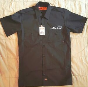 New custom dickies black embroidered indian motorcycle for Mechanic shirts with logo