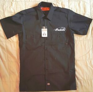New custom dickies black embroidered indian motorcycle for Embroidered work shirts online