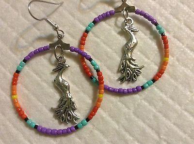 OOAK Purple Mountain Majesty fire Native Boho Fire Phoenix beaded hoop earrings