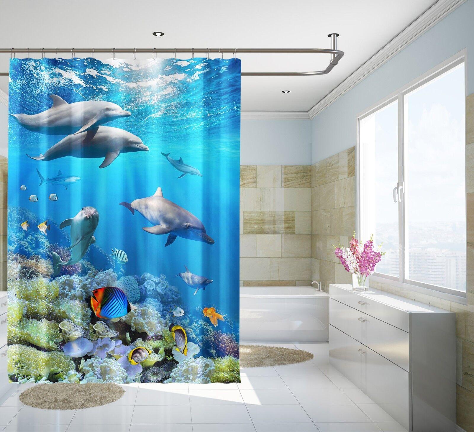 3D Dolphin Sea 243 Shower Curtain Waterproof Fiber Fiber Fiber Bathroom Home Windows Toilet c76c49