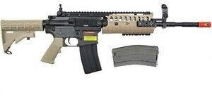 GE-JG-M4A1-S-SYSTEM-TAN-amp-BLACK-TWO-TONE-AIRSOFT-RIFLE-AEG-2-MAGAZINES