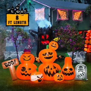 8-Foot-Halloween-Inflatable-Party-Blowup-Yard-Decoration-Tombstone-Pumpkin-Patch