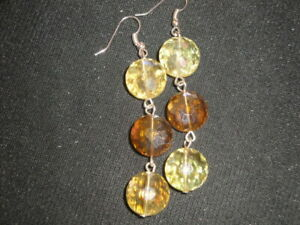 4198e3a1bb7a6 Details about Exquisite faceted round cut yellow & champagne crystal glass  sparkle earrings