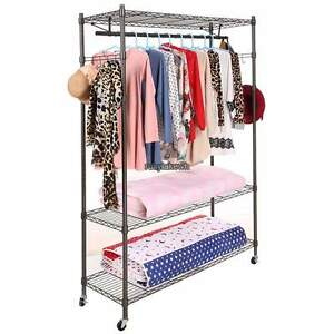3 Tier 74inch Wire Shelving Clothes Garment Rack Rolling