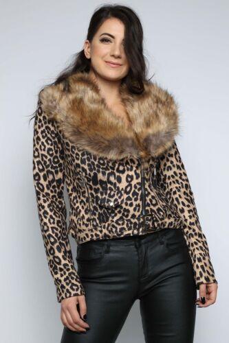 Cappotto da sintetica in motociclista leopardata pelliccia ppxqTrwa