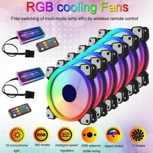 3//6 PCS RGB LED Quiet Computer Case PC Cooling Fan 120mm with Remote Control Lot