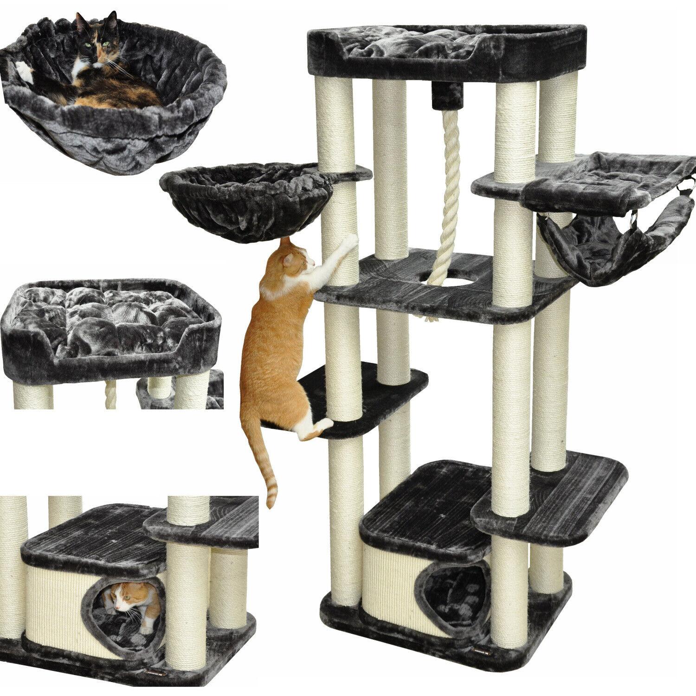 ALBERO TIRAGRAFFI GATTI ALBERO tiragraffi albero gatti antigraffio ATTILA Grigiogatti di grande  178 cm