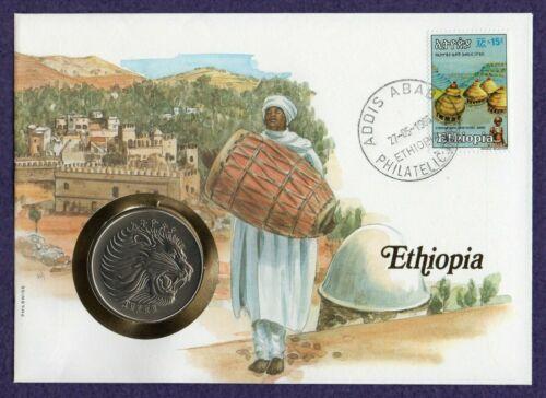 Ethiopia 2 Birr 1982 Football WorId Cup Lion Head FDC envelope UNC