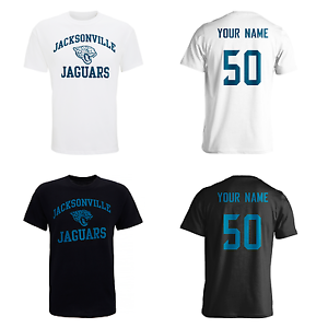 PERSONALISED Jacksonville Jaguars Adult Kids NFL T-Shirt Name AMERICAN FOOTBALL