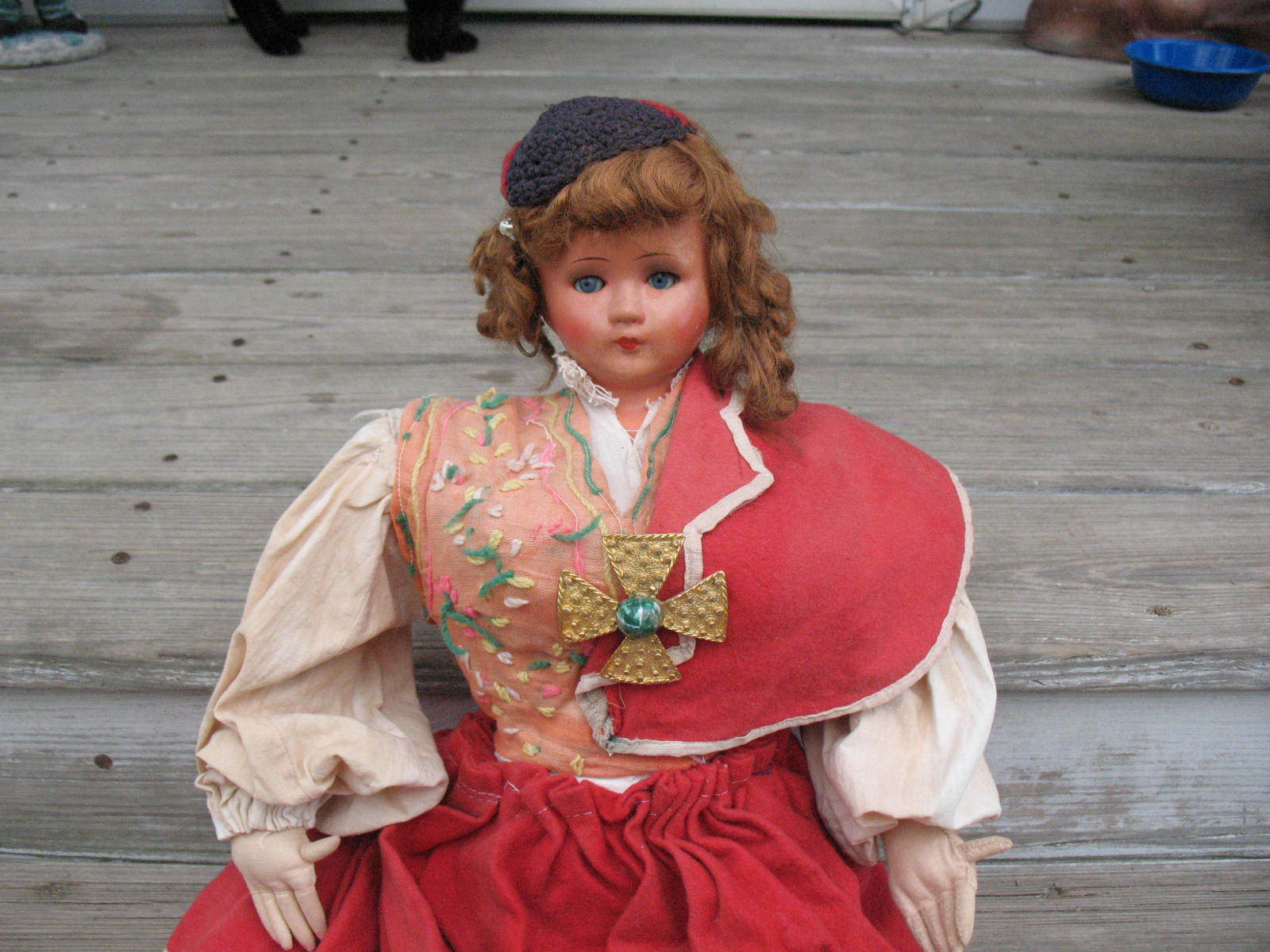 Antique Ethnic Doll Composition Head Sleep Eyes Cloth Body Pinned Arms & Legs