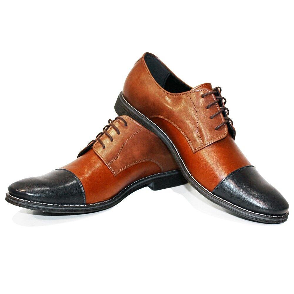 Modello Canvo - Handmade Coloridos Cuero Italiano Oxford Zapatos Vestido Marrón