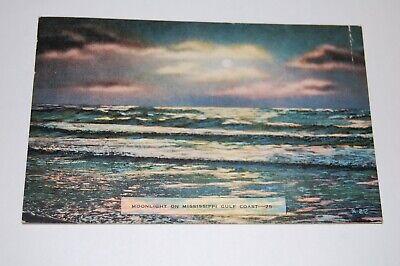 Vintage 1945 Gulfport Biloxi Mississippi Postcard Moonlight On