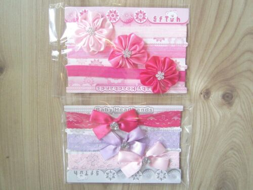 BABY GIRL 3 PACK HEADBANDS HAIRBANDS PINK LACE,CHRISTENING PARTY 0-6 Months
