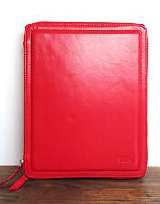 SENA RED HANDCRAFTED FULL GRAIN GENUINE LEATHER TABLET IPAD ZIP CASE FOLDER 10X8