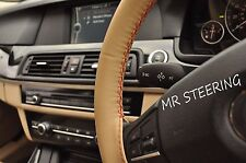 FOR MERCEDES E CLASS W211 02-08 BEIGE LEATHER STEERING WHEEL COVER RED STITCH