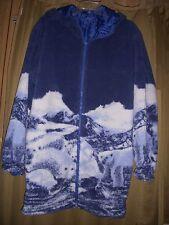 L Jacket Fleece Reversible Polar Bear Blue Pkts Hoodie Zips Long Length New  L