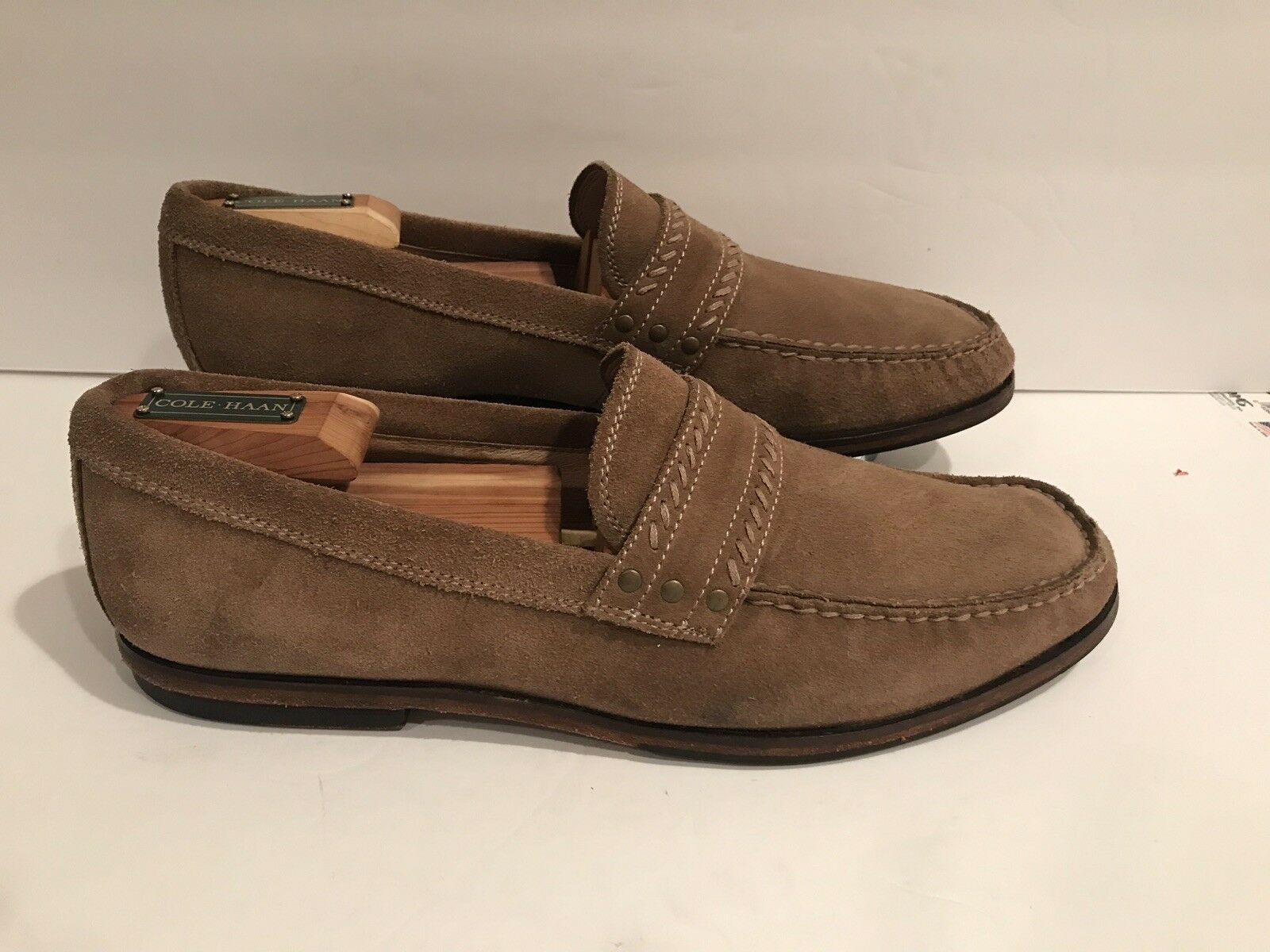 Men's John Varvatos Star USA Light Brown Suede Leather Loafers size 9.5