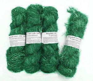 Details about 100g Recycled Sari Silk Yarn Hand-spun Green Soft Yarns