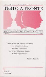 Testo a fronte, 1993, rivista letteraria, critica letteraria, Guerini, Zanzotto