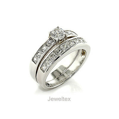 18CT White Gold GP Engagement  / Wedding 2 Rings Set. 0.5CT Centre Stones. CR017