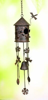 Metal Birdhouse Dragonfly Flower Bell Wind Chime 29""