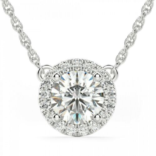 Vintage 2.50 Carat Round Cut Halo Diamond Pendant Necklace 14K White Gold Over