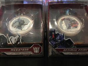 RARE-Transformers-SILVER-2-Coin-Set-Optimus-amp-Megatron-Perth-Mint-99-9-Pure