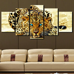 5p Abstract Leopards Home Decor Canvas Picture Art HD