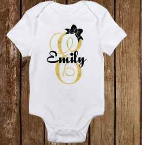 ea954142c Unique Sparkle Custom Name Cute Baby Girl Clothes Bodysuit Onesie ...