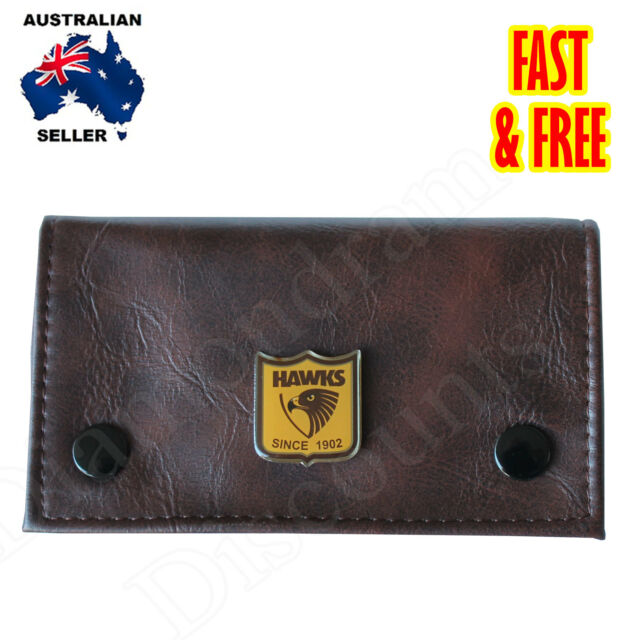 Tobacco Pouch with OFFICIALLY LICENSE Hawthorn Hawks AFL badge Birthday Gift