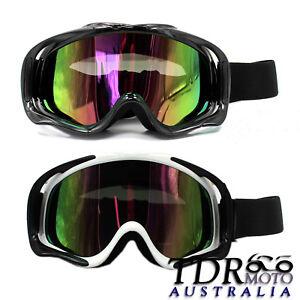 Snowmobile Snowboard SKI Snow Tinted GOGGLES Windproof UV Eye-wear Black / White