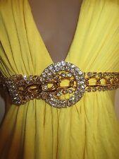 Sky Clothing Brand S Dress Rhinestone Crystal Gold Belt Bright Yellow Cocktail