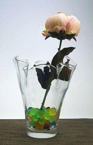 Clear Glass Handkerchief Wavy Vase Bouquet Vase 19 x 12cm Table Decor