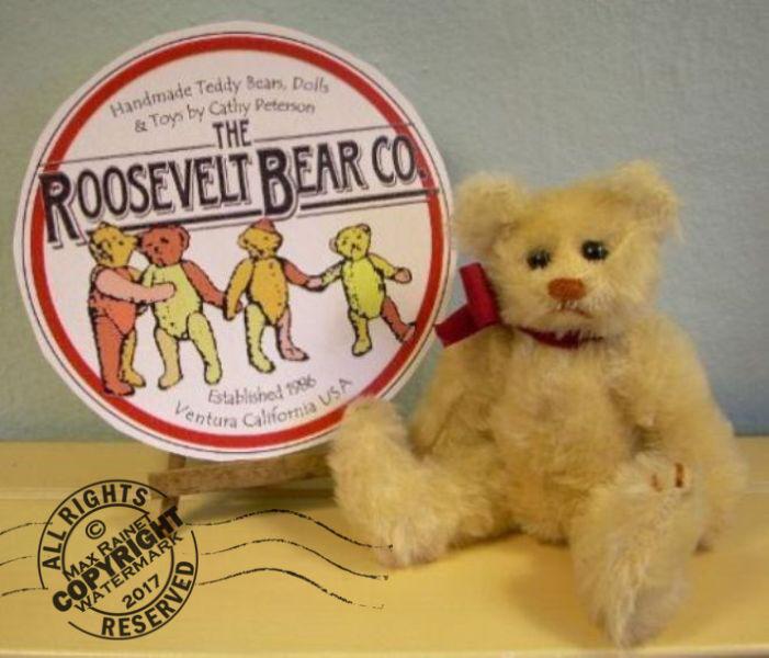Artist Teddy ROOSEVELT BEAR Co cream mohair 6  miniature Cathy Peterson handmade